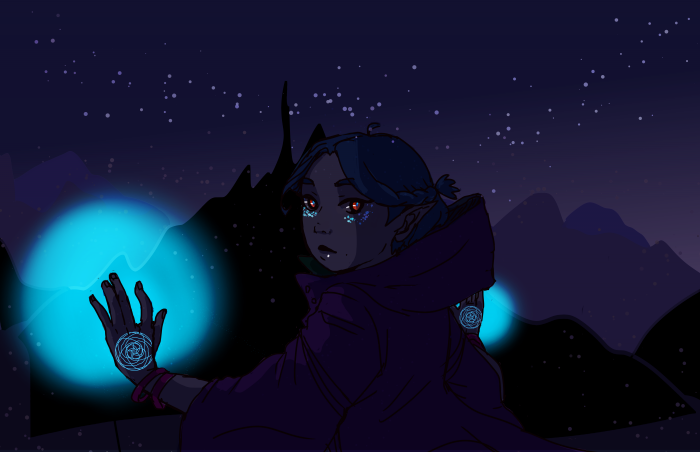 a dark elf in the woods at night